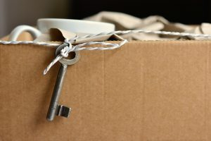 cardboard box with a key