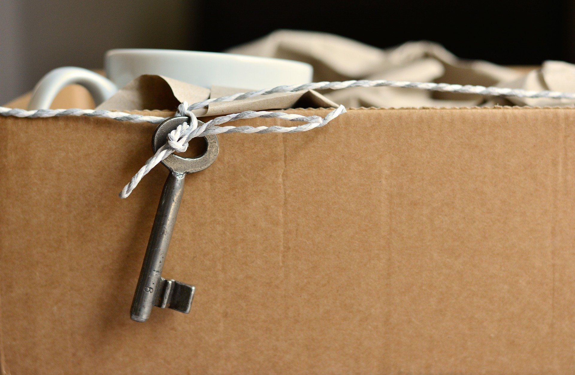 cardboard box with a key